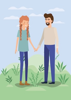 Pareja joven amantes en el campo