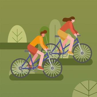 Pareja joven de bicicletas montar personajes deportivos