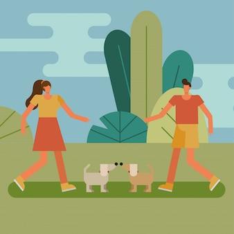 Pareja joven caminando con personajes de deporte de perro