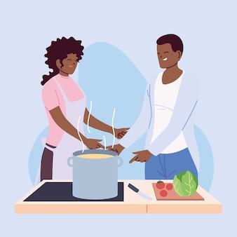 Pareja joven cocinando con delantal, una olla y utensilios de cocina, diseño de ilustraciones