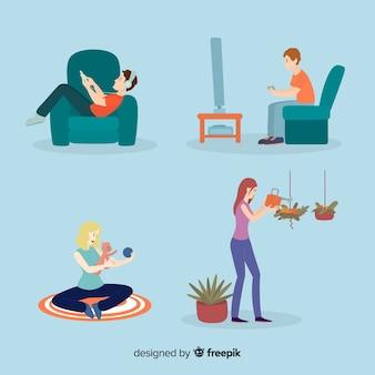 Pareja joven haciendo actividades en casa