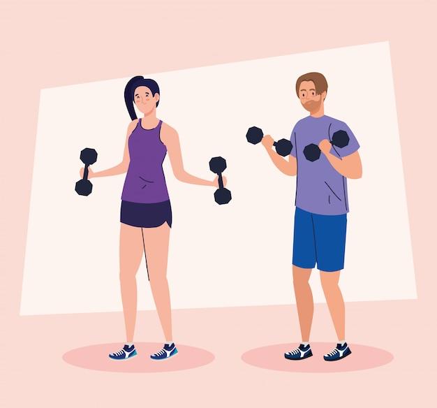 Pareja joven haciendo ejercicios con pesas, ejercicio de recreación deportiva