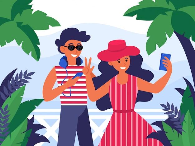 Pareja joven hombre y mujer posando en cámara móvil