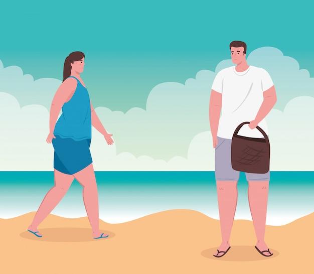 Pareja joven en la playa, chico y su novia en la playa, temporada de vacaciones de verano