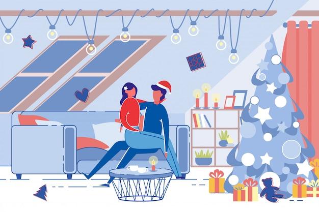 Pareja joven romántica celebra vacaciones de navidad