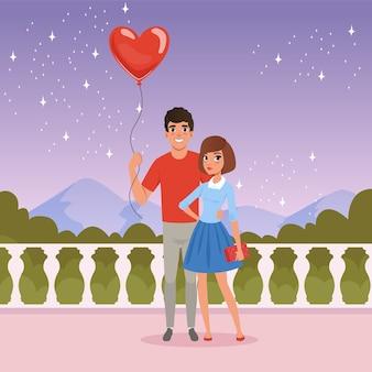 Pareja joven romántica en la fecha