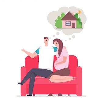 Pareja joven y soñar con casa. familia feliz sentado en la ilustración de dibujos animados de sofá aislado sobre fondo blanco.