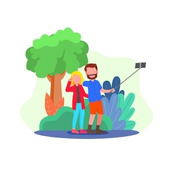 Pareja joven toma selfie ilustración
