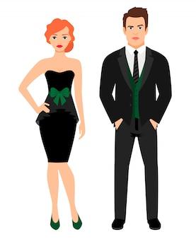 Pareja joven en traje de moda negro. mujer en vestido negro pequeño y hombre en chaleco y chaqueta, ilustración vectorial