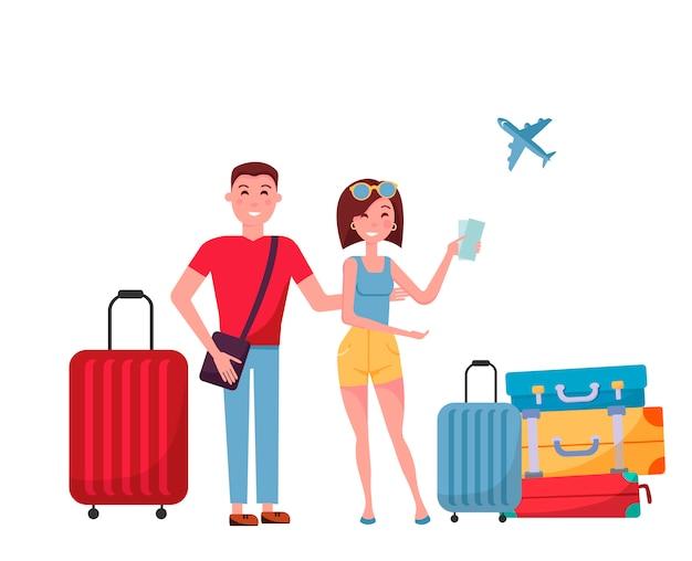 Pareja joven turistas con maletas y bolsas con ruedas