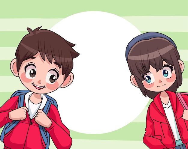 Pareja de jóvenes adolescentes con ilustración de personajes de mochila