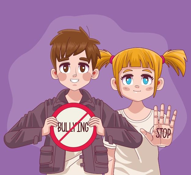 Pareja de jóvenes adolescentes con ilustración de señal de stop bullying