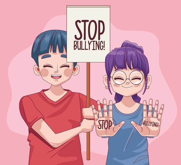 Pareja de jóvenes adolescentes con letras de stop bullying en ilustración de banner de protesta