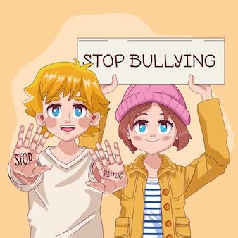 Pareja de jóvenes adolescentes con letras de stop bullying en ilustración de banner