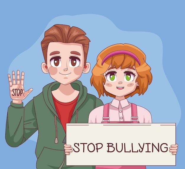 Pareja de jóvenes adolescentes con letras de stop bullying en la ilustración de la etiqueta