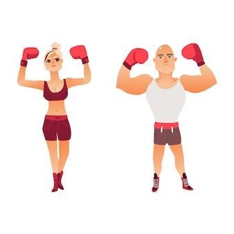 Pareja de jóvenes boxeadores caucásicos, hombre y mujer