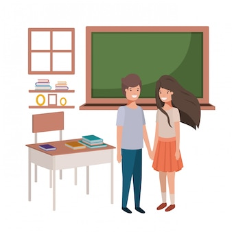 Pareja de jóvenes estudiantes en el aula