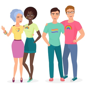 Pareja de jóvenes gays y lesbianas juntos