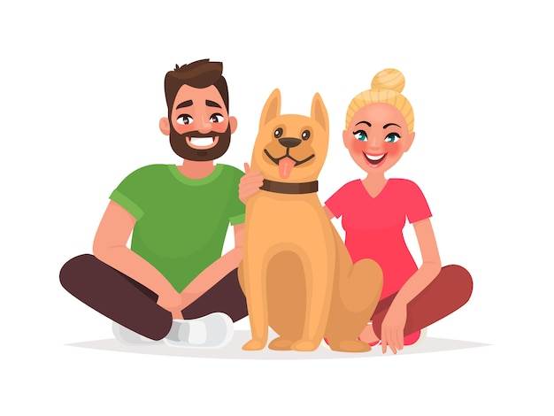 Pareja de jóvenes con una mascota. marido y mujer con un perro