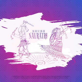 Pareja jugando dandiya en navratri dusseshra festival