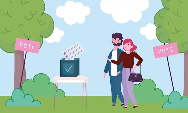 Pareja juntos votar caja de votación lugar de votación ilustración