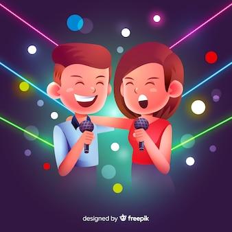 Pareja de karaoke