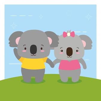 Pareja de koalas, animales lindos, estilo plano y de dibujos animados, ilustración