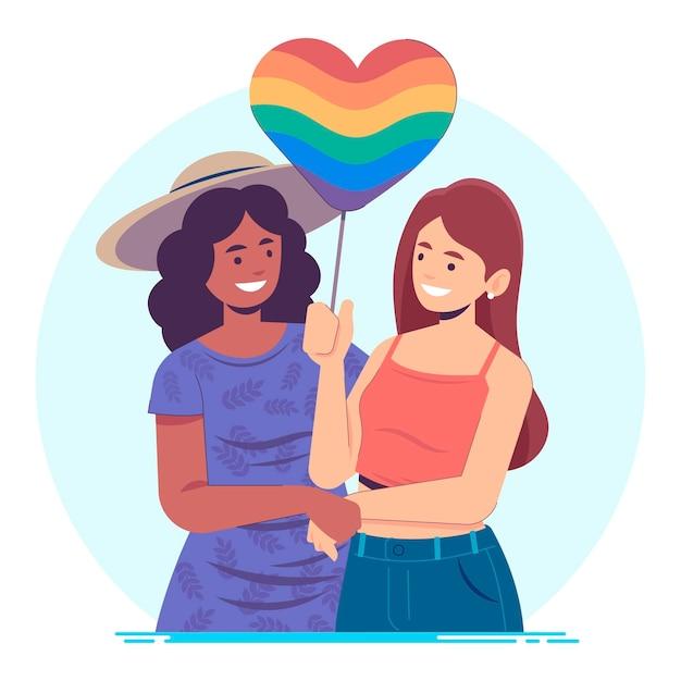 Pareja lesbiana plana orgánica con bandera lgbt