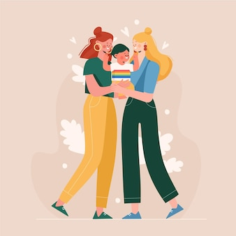 Pareja lesbiana plana orgánica con un niño