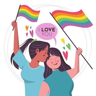 Pareja de lesbianas con bandera lgbt ilustrada