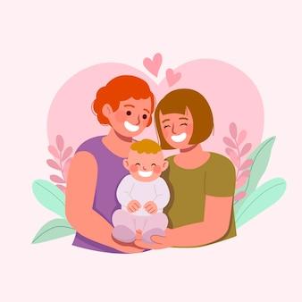 Pareja de lesbianas de diseño plano con niño