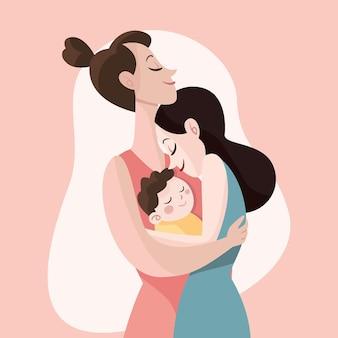 Pareja de lesbianas de diseño plano con su hijo