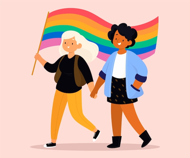 Pareja de lesbianas plana orgánica con bandera lgbt