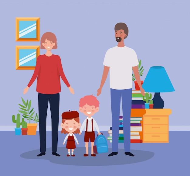Pareja de maestros con niños pequeños estudiantes en la habitación