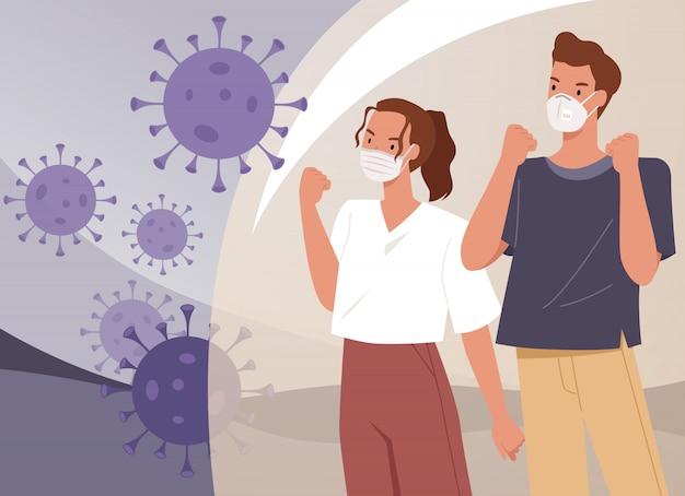Pareja con mascarillas. hombre y mujer luchan con coronavirus. medidas preventivas de virus. ilustración en un estilo plano