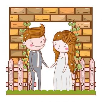 Pareja matrimonio linda caricatura