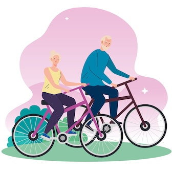 Pareja mayor en bicicleta en el parque ilustración