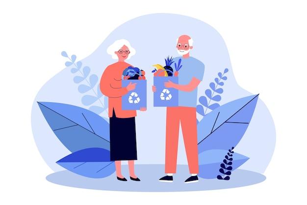 Pareja mayor de compras con bolsas reutilizables ilustración