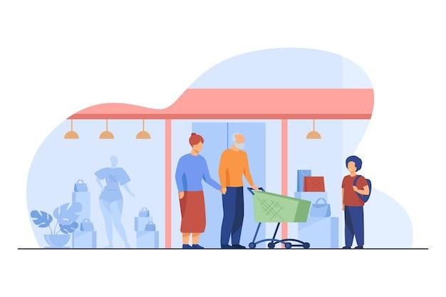 Pareja mayor y niño de compras en el centro comercial. niño, abuelos, carro, ilustración de vector plano de ventana de tienda. comercio, familia, generación