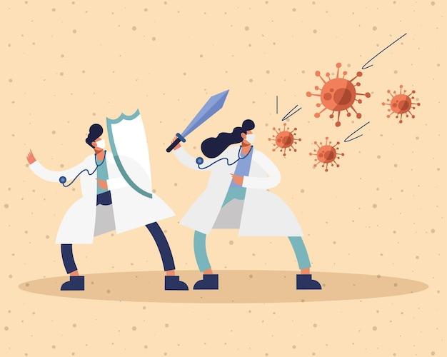 Pareja de médicos con máscaras médicas con espada y partículas de virus ilustración