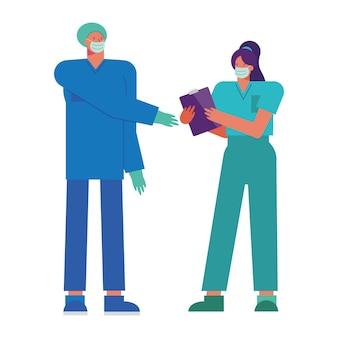 Pareja de médicos profesionales con ilustración de máscaras médicas