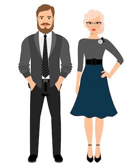 Pareja de moda de estilo de negocios. ilustración vectorial