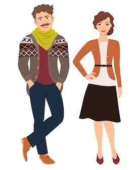 Pareja de moda en ropa casual. hombre en jeans y chaqueta de punto y mujer en falda, ilustración vectorial