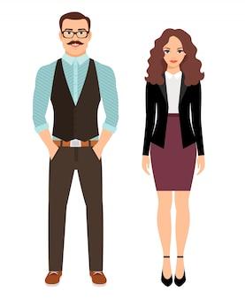 Pareja de moda en ropa de negocios para el trabajo de oficina. ilustración vectorial