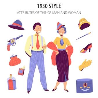 Pareja de moda vestida con la ilustración de estilo de la década de 1930