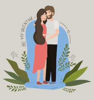 Pareja de mujer y hombre dibujo, relación día de san valentín romance vacaciones y juntos ilustración