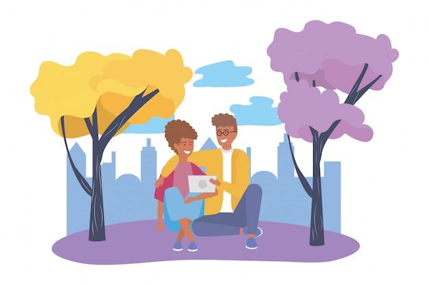 Pareja de mujer y hombre en el parque