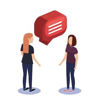 Pareja mujeres hablando con globo de discurso