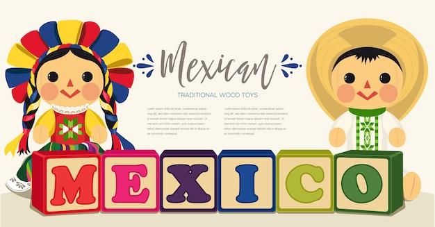 Pareja de muñecas de trapo tradicionales mexicanas