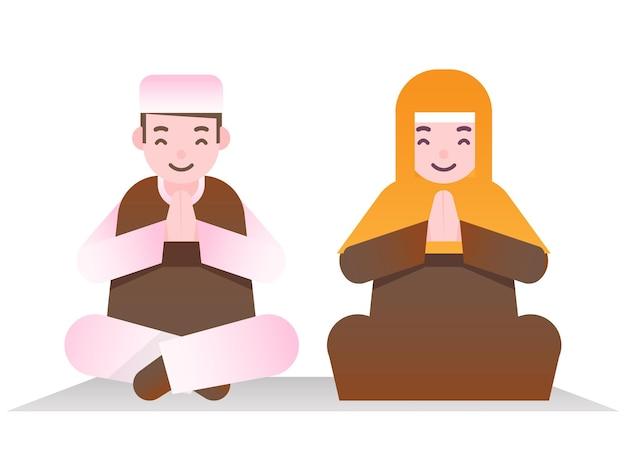 Pareja musulmana de dibujos animados haciendo namaste (bienvenida u oración) en pose sentada.
